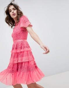 Розовое платье мини с ярусной юбкой Needle & Thread - Розовый
