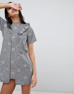 Платье в клетку с цветочной вышивкой Lazy Oaf - Черный