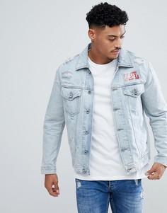 Джинсовая куртка с потертостями и контрастным логотипом Diesel D-HILL - Синий