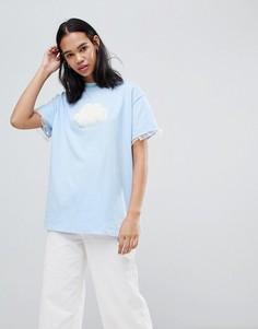 Оверсайз-футболка с отделкой в виде облака Lazy Oaf - Синий