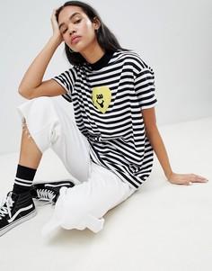 Oversize-футболка в полоску с сердцем Lazy Oaf - Черный