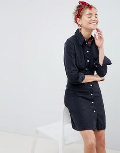 80ec814b1521d0e Черное выбеленное джинсовое платье-рубашка в стиле вестерн ASOS DESIGN -  Черный