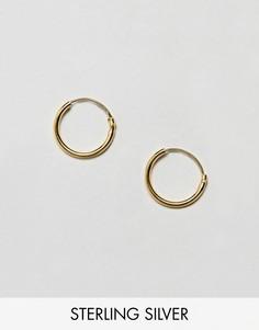 Серебряные серьги-кольца 12 мм с позолотой ASOS DESIGN - Золотой