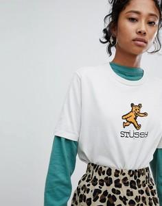 Oversize-футболка с принтом медведя Stussy - Бежевый