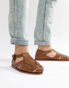 Светло-коричневые кожаные сандалии с плетеной отделкой Dune - Рыжий