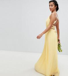 Плиссированное платье макси с перекрестной отделкой на спине TFNC Petite - Желтый