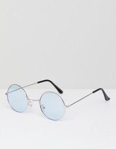 Круглые солнцезащитные очки с синими стеклами 7x - Серебряный