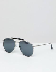 Солнцезащитные очки-авиаторы с черными стеклами 7x - Серебряный