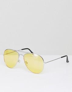Солнцезащитные очки-авиаторы с желтыми стеклами 7x - Серебряный