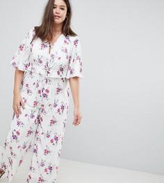 Комбинезон с широкими рукавами и цветочным принтом Fashion Union Plus - Белый