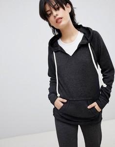 Серый свитер с карманом-кенгуру Ocean Drive - Черный