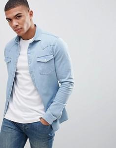 Приталенная джинсовая рубашка в стиле вестерн ASOS DESIGN - Синий
