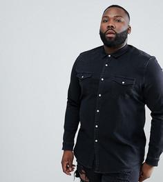 Черная джинсовая рубашка зауженного кроя в стиле вестерн ASOS DESIGN Plus - Черный