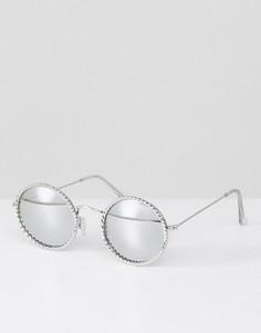 Серебристые круглые солнцезащитные очки с отделкой Jeepers Peepers - Серебряный