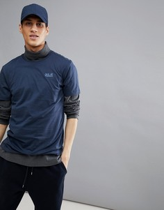 Темно-синяя футболка Jack Wolfskin Essential - Темно-синий