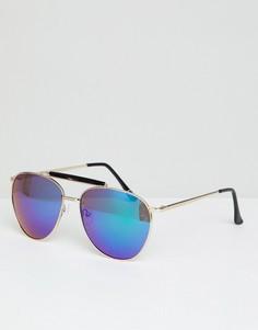 Золотистые солнцезащитные очки-авиаторы с зеркальными стеклами ASOS DESIGN - Золотой