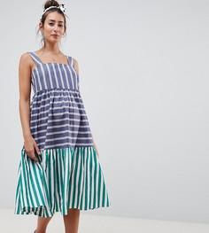 Ярусное платье миди в полоску ASOS DESIGN Maternity - Мульти
