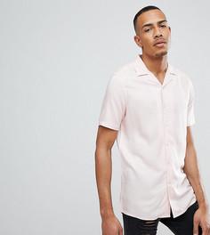 Розовая рубашка из вискозы классического кроя с отложным воротником ASOS DESIGN Tall - Розовый