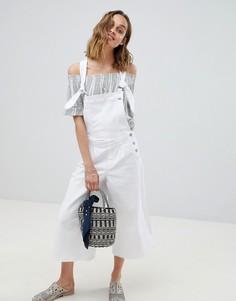 Джинсовый комбинезон с широкими штанинами Pepe Jeans - Белый