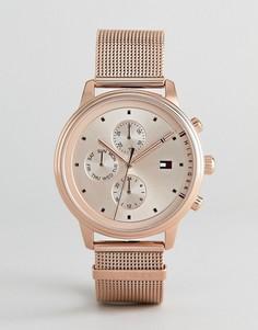 Часы цвета розового золота с сетчатым браслетом и хронографом Tommy Hilfiger 1781907 - 38 мм - Золотой