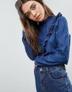 Джинсовая блузка с оборками JDY - Синий