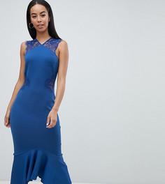Платье миди с кружевными вставками ASOS DESIGN Tall - Синий