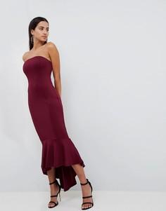 Платье-бандо макси с баской AX Paris - Фиолетовый
