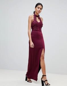 Платье макси с кружевной отделкой и боковым разрезом AX Paris - Фиолетовый