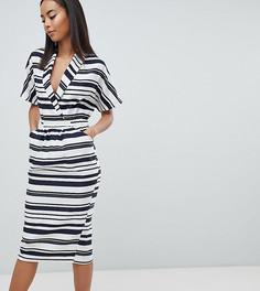 Платье миди в полоску с карманами ASOS DESIGN Tall - Мульти