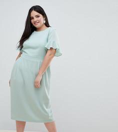 Платье миди с оборками на рукавах ASOS DESIGN Curve - Зеленый