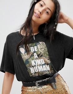 Свободная футболка с вышивкой Native Rose - Черный