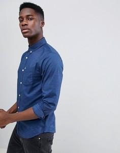 Темно-синяя приталенная оксфордская рубашка с логотипом Hollister - Темно-синий