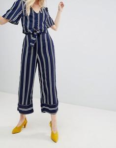 Укороченные брюки в полоску с широкими штанинами New Look - Темно-синий