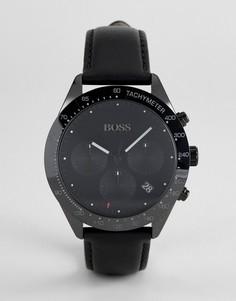 Черные часы с хронографом и кожаным ремешком BOSS 1513590 Talent - Черный