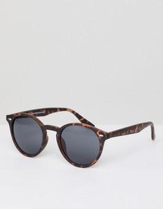 Круглые солнцезащитные очки в коричневой черепаховой оправе New Look - Коричневый