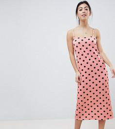 Платье-комбинация макси в горошек ASOS DESIGN Petite - Мульти