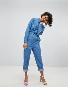 Синий джинсовый комбинезон в стиле милитари ASOS DESIGN - Синий