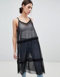 Ярусное сетчатое платье макси Pieces - Черный