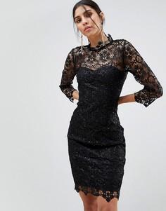 Кружевное платье миди с высокой горловиной Paper Dolls - Черный