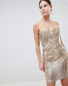 Платье мини с вырезом сердечком и пайетками City Goddess - Золотой