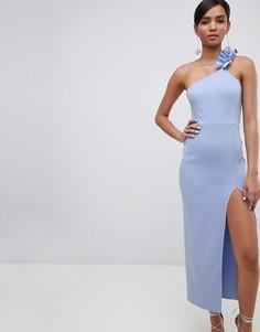 Платье макси на одно плечо с оборкой ASOS DESIGN - Синий