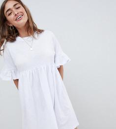 Свободное хлопковое платье с оборками ASOS DESIGN Petite - Белый