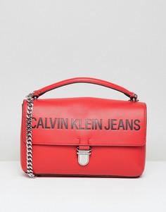 Сумка сэтчел с цепочкой Calvin Klein Jeans - Красный