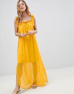 Пляжное платье макси с завязками с кисточками MW by Matthew Williamson - Желтый