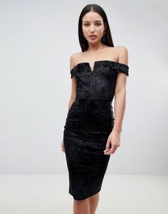 Бархатное платье миди с открытыми плечами AX Paris - Черный