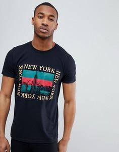 Черная футболка с принтом New York boohooMAN - Черный