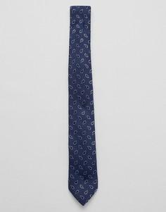 Темно-синий галстук с принтом пейсли Jack & Jones - Темно-синий