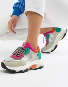 Замшевые кроссовки со вставками металлик и массивной подошвой Bronx - Мульти