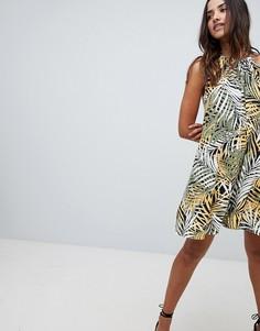 Свободное платье с пальмовым принтом Boohoo - Мульти