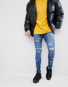 Обтягивающие рваные светлые джинсы Jaded London - Синий